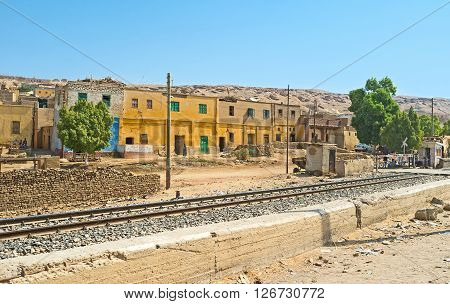 The railway connecting Cairo and Aswan runs along many small towns and villages Upper Egypt.