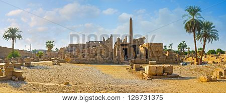 The Karnak Temple is the large archaeological site with numerous preserved landmarks Luxor Egypt..