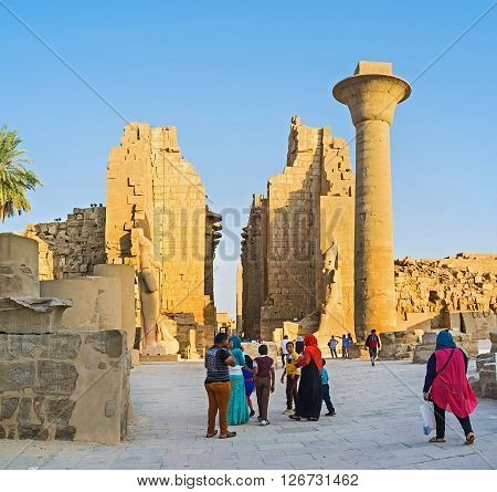 LUXOR EGYPT - OCTOBER 7 2014: The Karnak Temple complex is one of the most visitable landmarks in country on October 7 in Luxor.