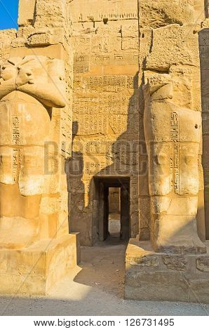 The side door in Temple of Ramesses III connects it with other buildings of Karnak Temple Luxor Egypt.