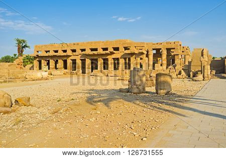 The visiting of the Festival Temple of Thutmose III is important part of every tourist route during excursion to Karnak Complex Luxor Egypt.