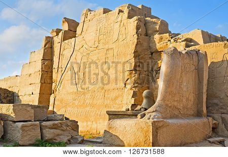 LUXOR EGYPT - OCTOBER 7 2014: The ancient relief on the Seventh Pylon of Karnak Temple depicts Thutmose III defiting his enemies on October 7 in Luxor.