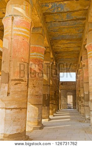 LUXOR EGYPT - OCTOBER 7 2014: The interior of the Festival Temple of Thutmose III with preserved decorations on columns and ceiling on October 7 in Luxor.