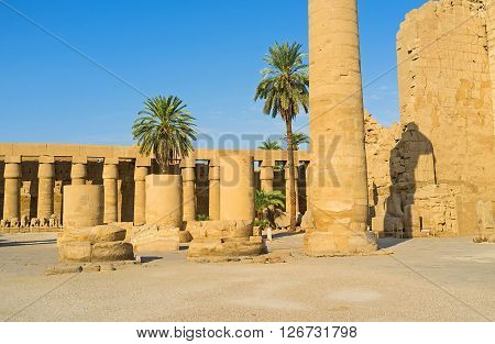 The archaeological area of the Great Court of the Karnak Temple Luxor Egypt.
