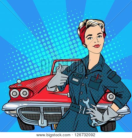 Girl with Tools and Vintage American Car. Pop Art Vector illustration
