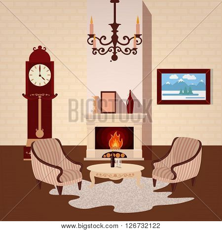 Living Room Interior with Vintage Chandelier and Fireplace. Vector illustration