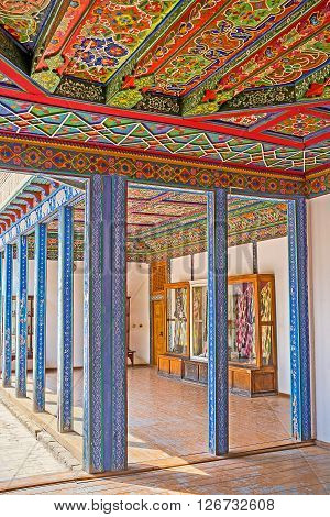 KOKAND UZBEKISTAN - MAY 6 2015: The interior of the Khudayar Khan Palace that serves as the Historic and Eastern Art Museum on May 6 in Kokand.