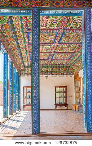 KOKAND UZBEKISTAN - MAY 6 2015: The Khudayar Khan Palace boasts numerous preserved interiors with the unique decorations made of carved wood covered with islamic patterns on May 6 in Kokand.