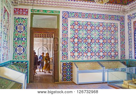 KOKAND UZBEKISTAN - MAY 6 2015: The interiors of the Khudayar Khan Palace are preserved as the part of historical museum on May 6 in Kokand.