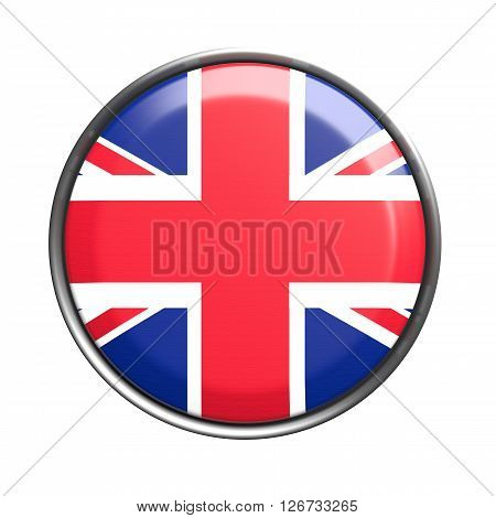 Button With Uk Flag