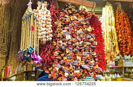 The wide range of dried vegetables the important part of the Turkish cuisine in the market stall Istanbul Turkey.