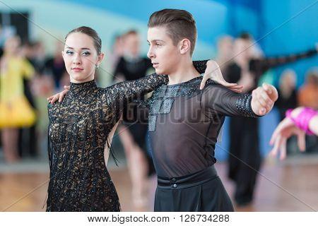 Minsk Belarus -April 3 2016: Mironchik Vladislav and Ermakova Olga Perform Juvenile-2 Latin-American Program on IDSA Championship Kinezis Star Cup - 2016 in April 3 2016 in Minsk Republic of Belarus