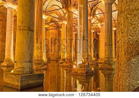 ISTANBUL TURKEY - JANUARY 21 2015: The Basilica Cistern is oneof the most interesting landmarks of the city preserved since the Roman Age on January 21 in Istanbul.