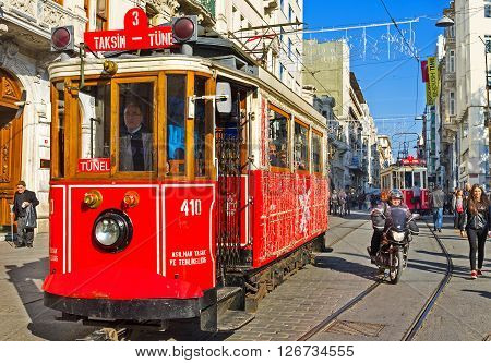 ISTANBUL TURKEY - JANUARY 22 2015: The red tram going to Tunel on the station waits for the tourists on January 22 in Istanbul.