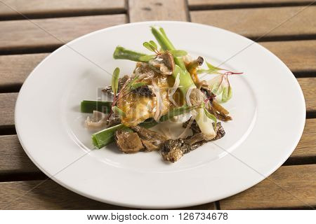 Corn fed chicken with cider, baby leeks & wild mushrooms