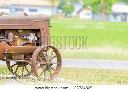 the antique tractor in the rice farm ** Note: Soft Focus at 100%, best at smaller sizes