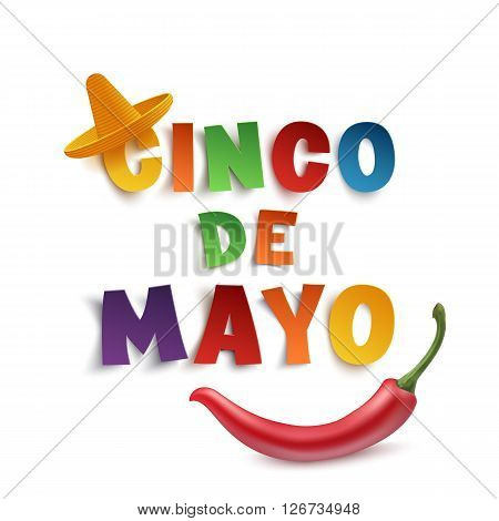 Cinco de Mayo background template with sombrero and red chili pepper, isolated on white background. Vector illustration.