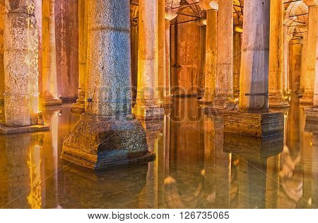 ISTANBUL TURKEY - JANUARY 21 2015: The Basilica Cistern was the largest in city underground waterproof chamber to holding water for the public uses on January 21 in Istanbul.