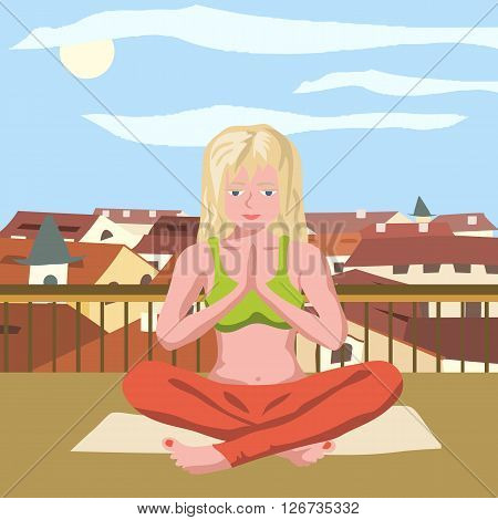 doing yoga on the roof - coloful vector illustration of girl meditating on the roof
