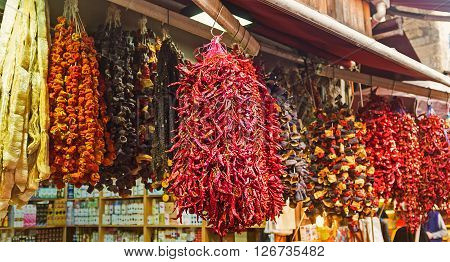 The appetite dried vegetables in the market stall Istanbul Turkey. ** Note: Soft Focus at 100%, best at smaller sizes