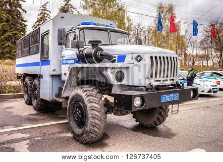 SAMARA RUSSIA - APRIL 20 2016: Russian police heavy truck parked on the city street in spring day