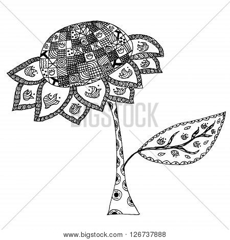 Sunflower in doodle style. Hand drawn sunflower in tribal style. Zentangle sunflower. Design element in vector.