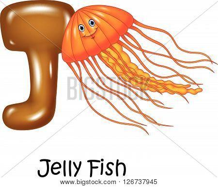 Vector illustration of J Letter for Jelly fish