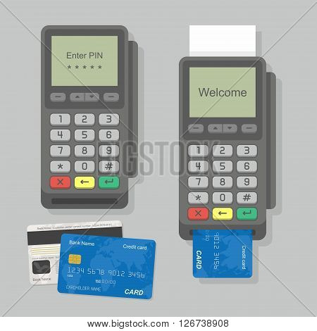 Payment Terminal with inserted credit card and printed reciept