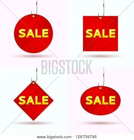 Set of red tags of sale. Collection of the labels hanging on hooks. Vector illustration.