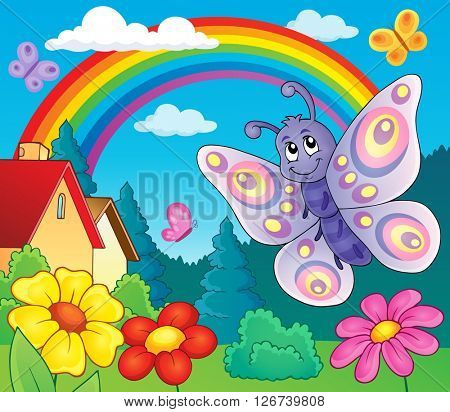 Happy butterfly topic image 6 - eps10 vector illustration.