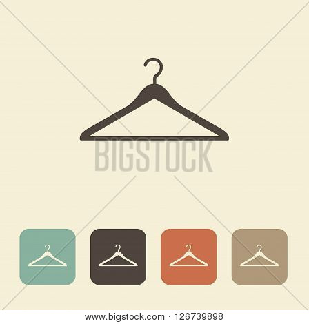 Vector image of coat hangers. Simple monochrome icon
