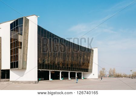 Building of Ice Palace in Gomel, Belarus. Ice Palace is primarily used for ice hockey, figure skating, short track speed skating and other ice sports.
