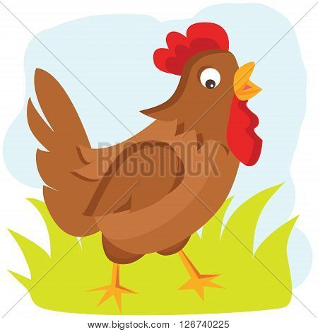 Hen vector illustration. Hen on the green grass