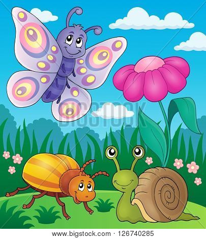 Spring animals and insect theme image 2 - eps10 vector illustration.