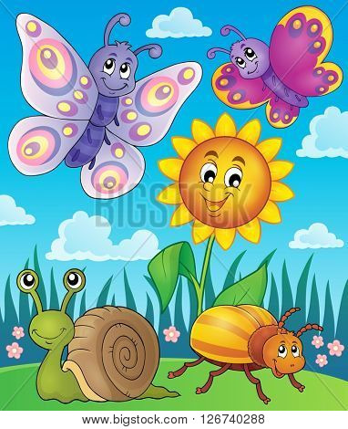 Spring animals and insect theme image 3 - eps10 vector illustration.