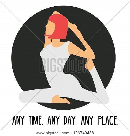 Woman sitting in rajakapotasana yoga pose icon