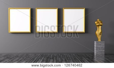 Three Golden Frames And Statuette Interior Background 3D Rendering