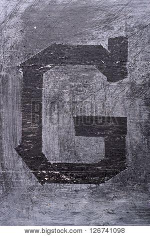 Black Grunge Alphabet. Letter G