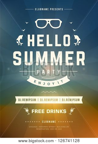 Summer Holydays Beach Party Typography Poster or Flyer Design. Night Club Event or Invitaion Vector Illustration Retro Style.