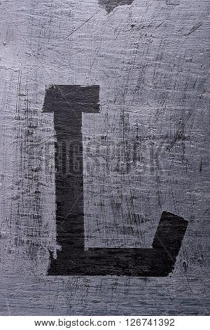 Black Grunge Alphabet. Letter L