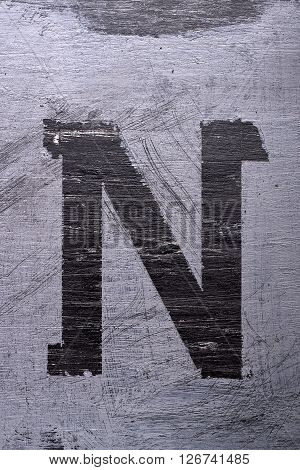 Black Grunge Alphabet. Letter N