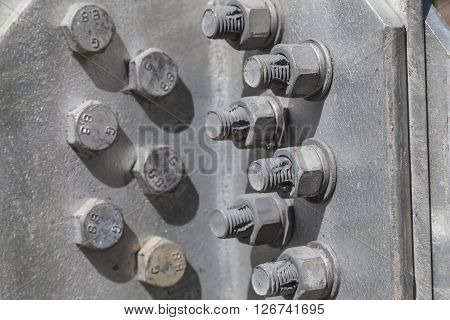 Nuts and bolts on a steel structure
