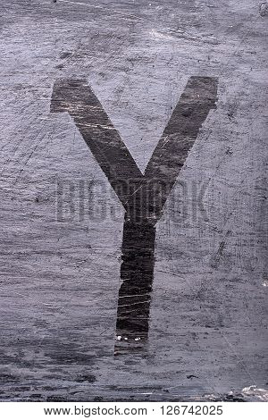 Black grunge alphabet sticky tape effect.Letter Y