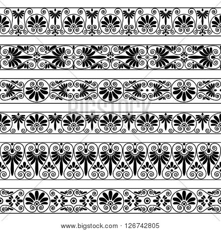 Set collections of old Greek ornaments. Antique borders in black color on the white background. Ethnic patterns. Vector illustrations.