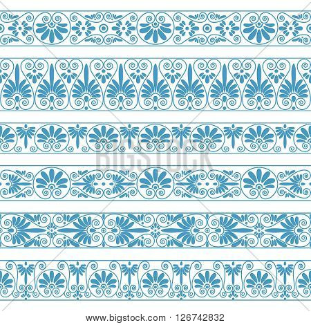 Set collections of old Greek ornaments. Antique borders in blue color on the white background. Ethnic patterns. Vector illustrations.