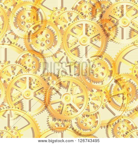 golden gears on a yellow background seamless pattern vector illustration