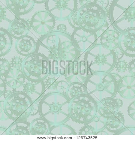 gears on a green background seamless pattern vector illustration