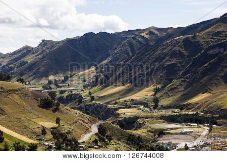 Starting the Toachi Canyon, Zumbahua and cultivated hillsides