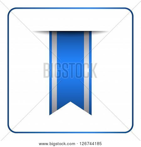 Blue bookmark banner. Vertical book mark isolated on white background. Color tag label. Flag symbol sign. Design element blank. Empty sticker for sale. Template icon decoration. Vector illustration