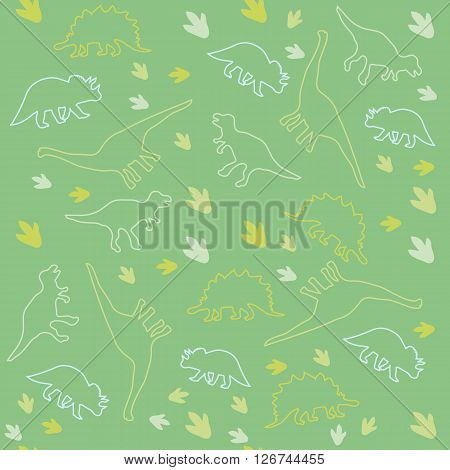 Vector illustration. Seamless ornamental background made of silhouettes of dinosaurs of different species and marks on a green background.